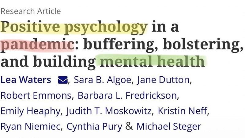 Journal of Positive Psychology   Corona