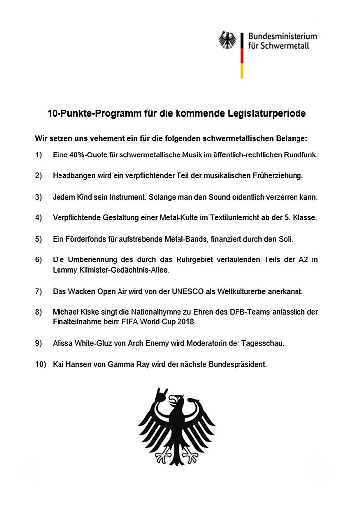 Bundesministerium für Schwermetall - 10 Programmpunkte